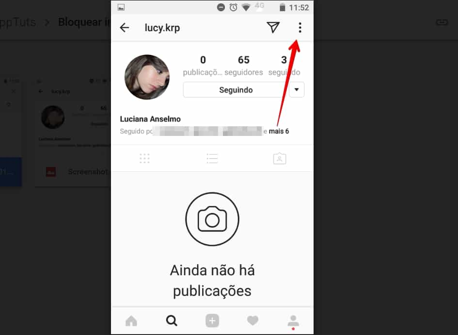 bloquear no Instagram menu