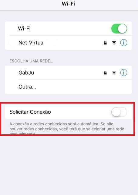 solicitar conexão wi-fi