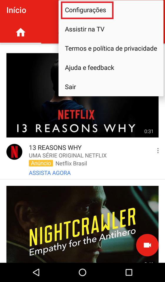 youtube opções