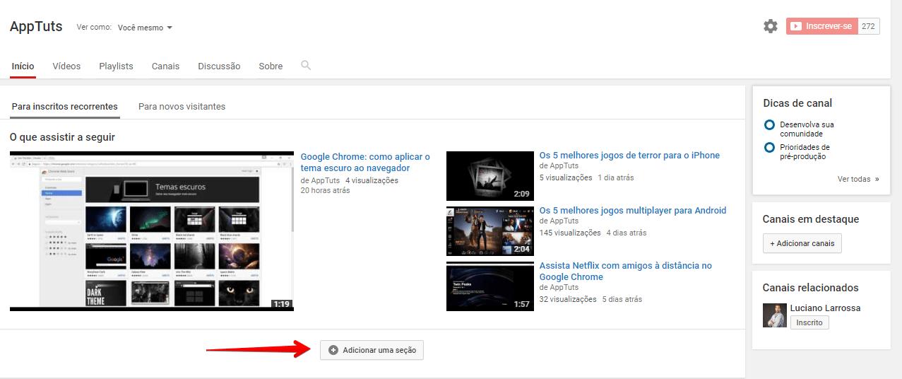 organizar-canal-do-youtube-adicionarsecao