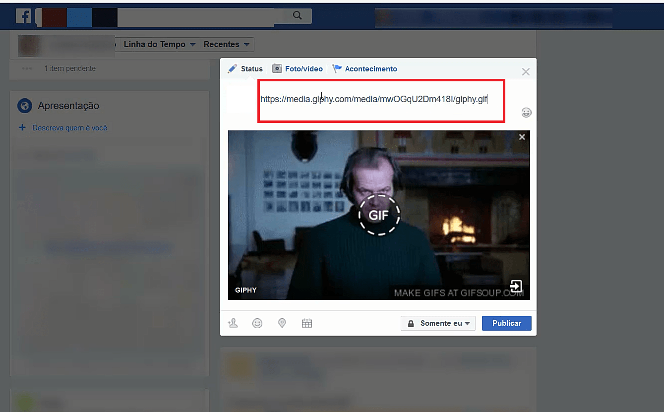 postar gifs no facebook