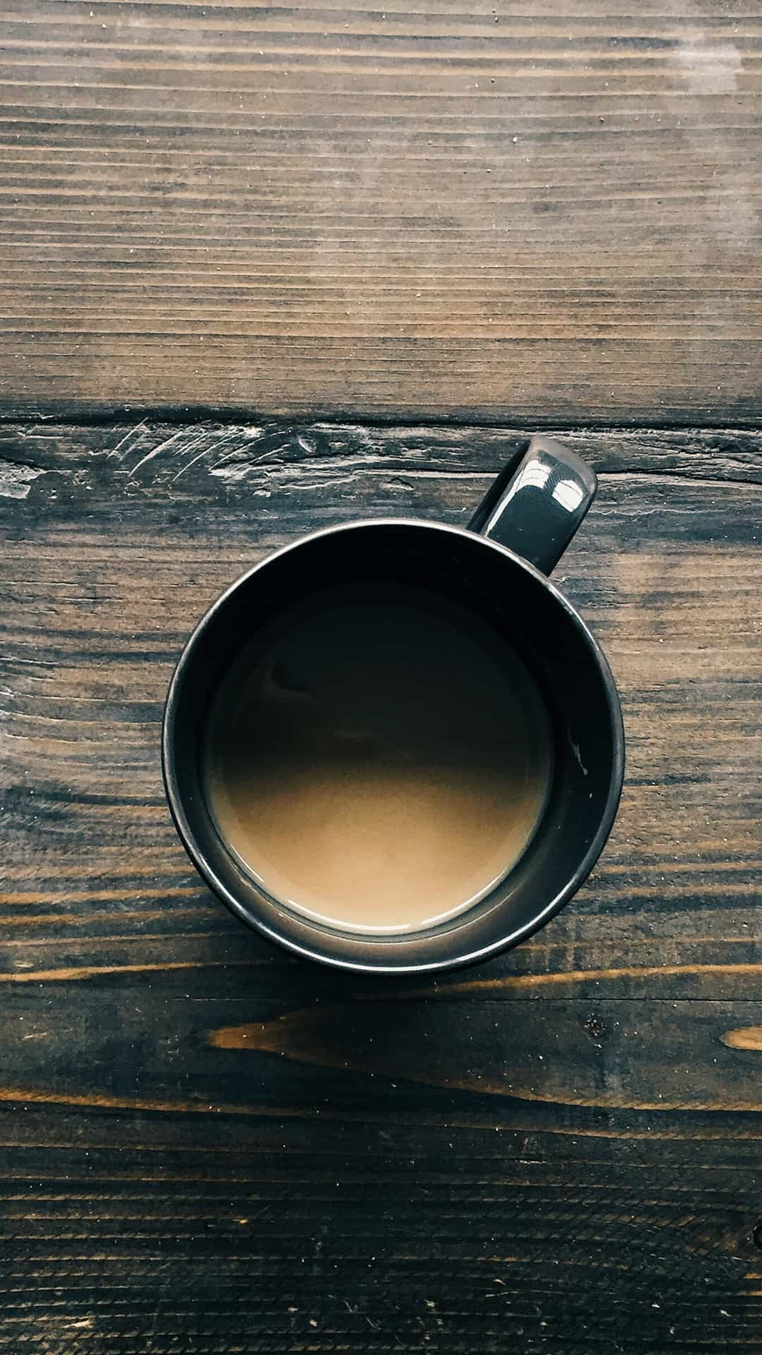 Coffee Cup On Wooden Table Top View Android Wallpaper