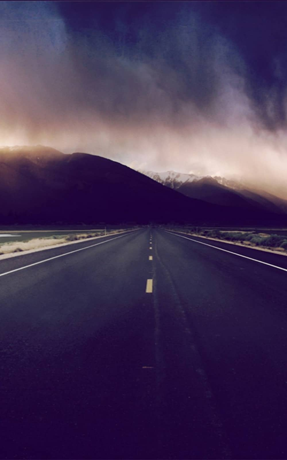 Mountain Highway Foggy Horizon Android Wallpaper