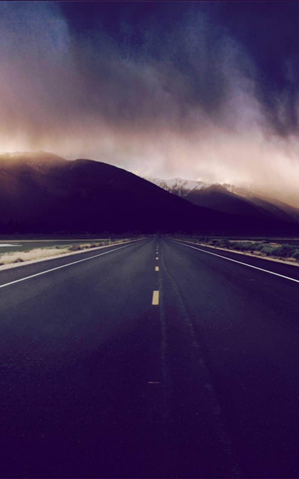 Mountain Highway Foggy Horizon Android Wallpaper