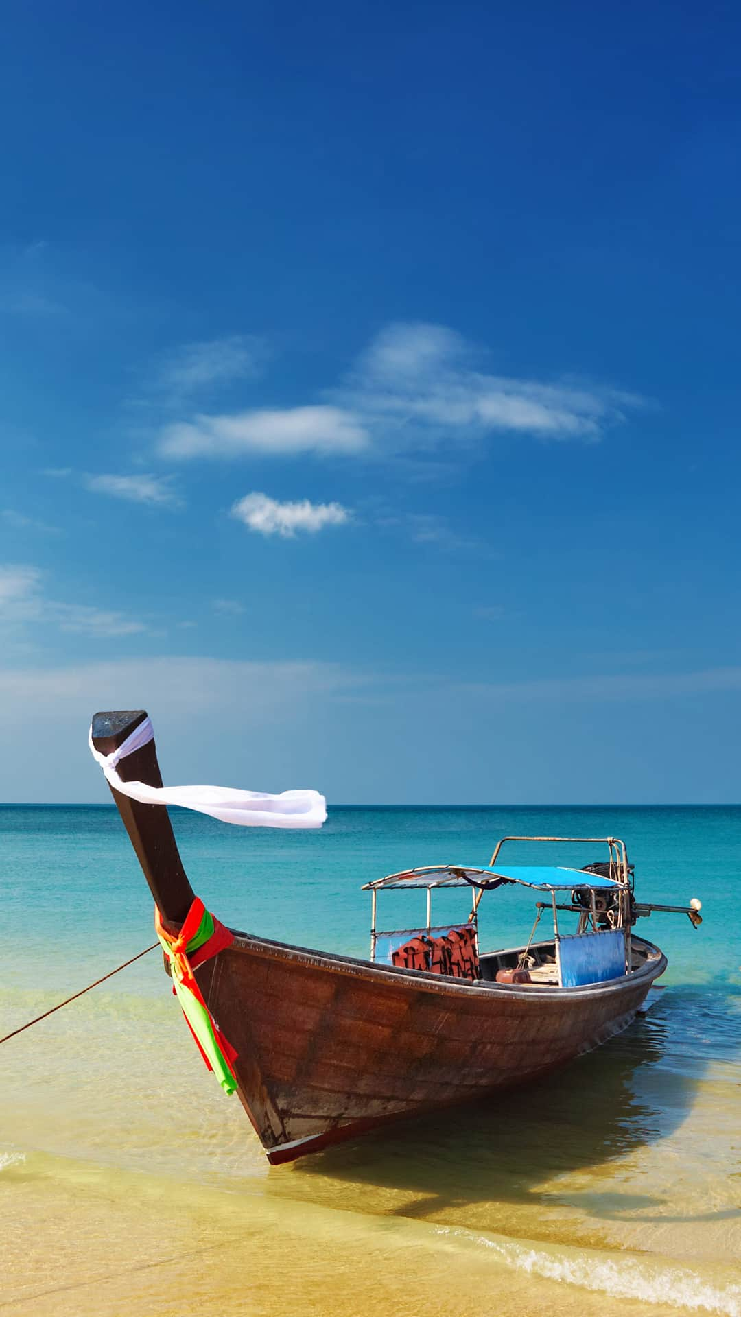 Thailand Beach Shore Boat Android Wallpaper