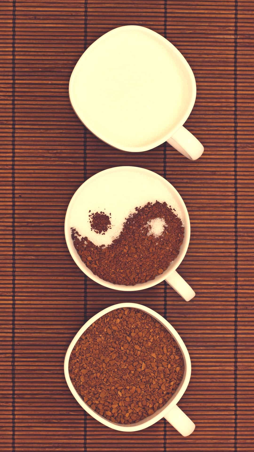 Vintage Light Ying Yang Coffee Cups Android Wallpaper