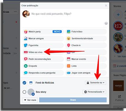 publicar live do instagram no facebook privacidade