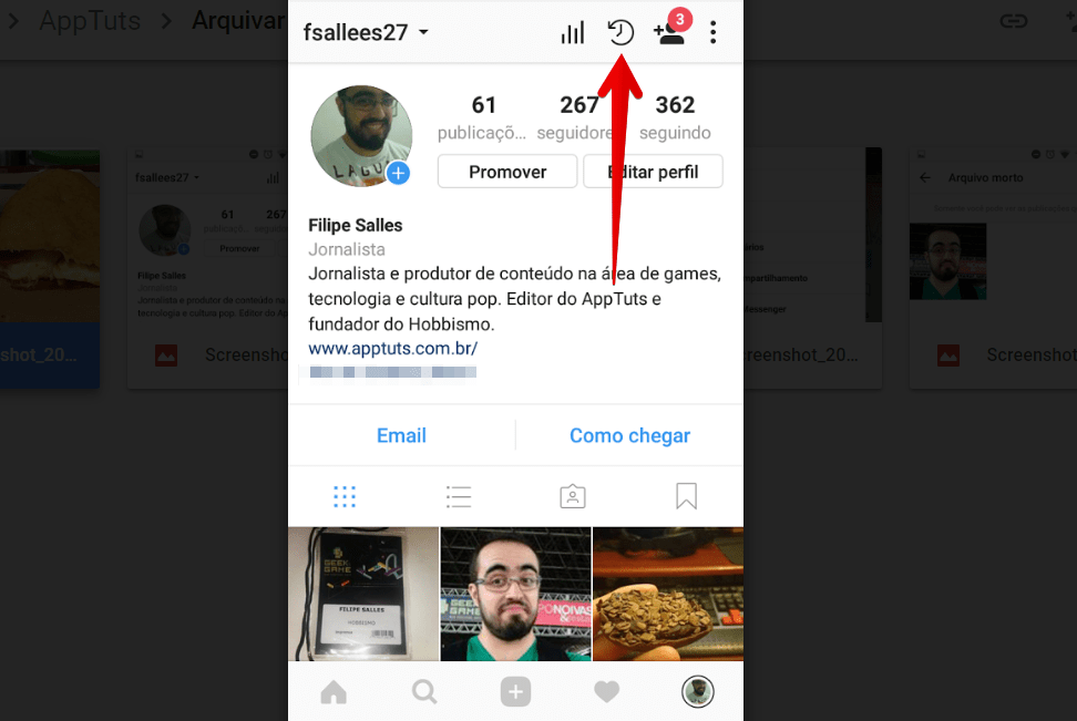 arquivar-posts-do-instagram-relogio