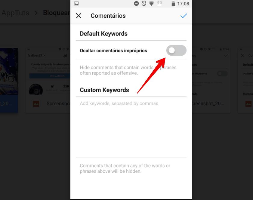 bloquear comentários ofensivos no instagram ativar