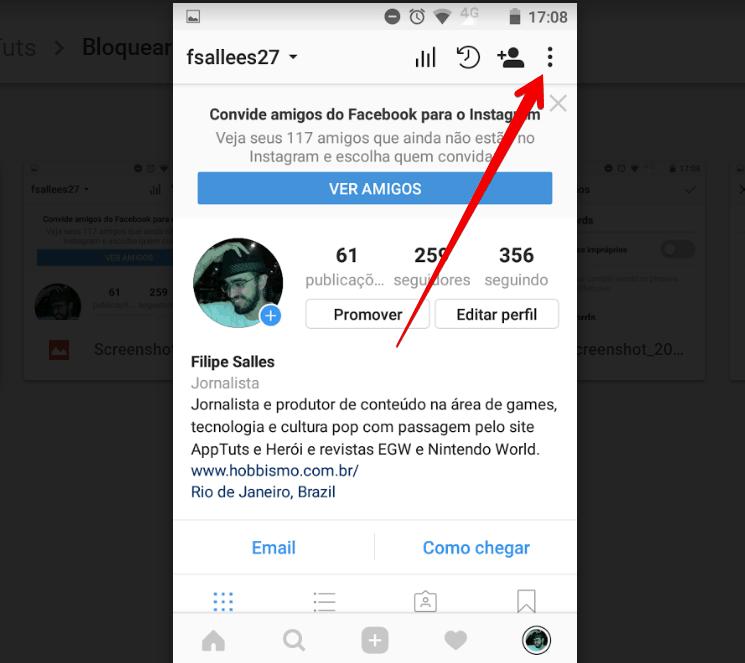 bloquear comentários ofensivos no instagram menu