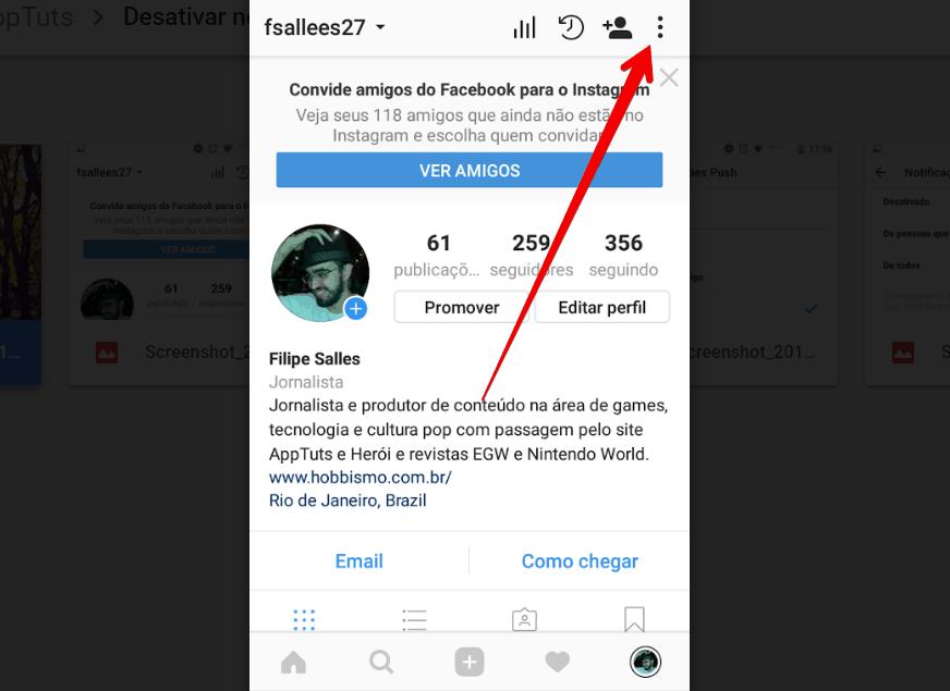 desativar notificações no instagram menu