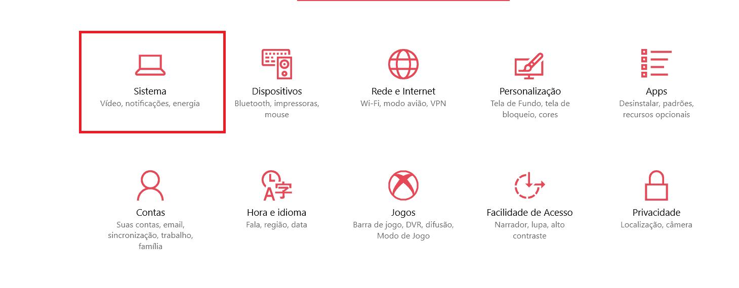 opções windows 10