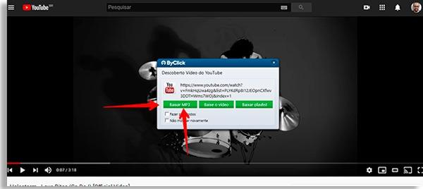 tela do byclick downloader com setas vermelhas apontando para o botão baixar mp3