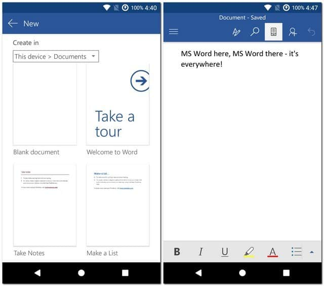 Microsoft Word best writing apps for Android