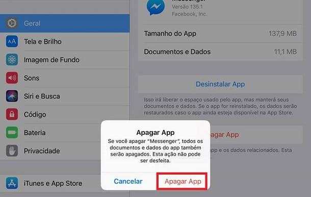 apagar app