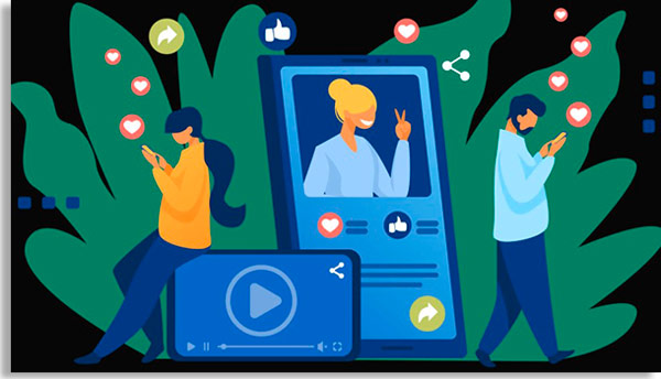 ilustração mostrando alguém na tela de um celular, com duas pessoas do lado de fora olhando para seus próprios telefones