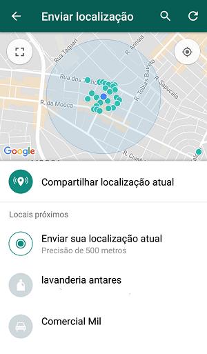 compartilhar localização