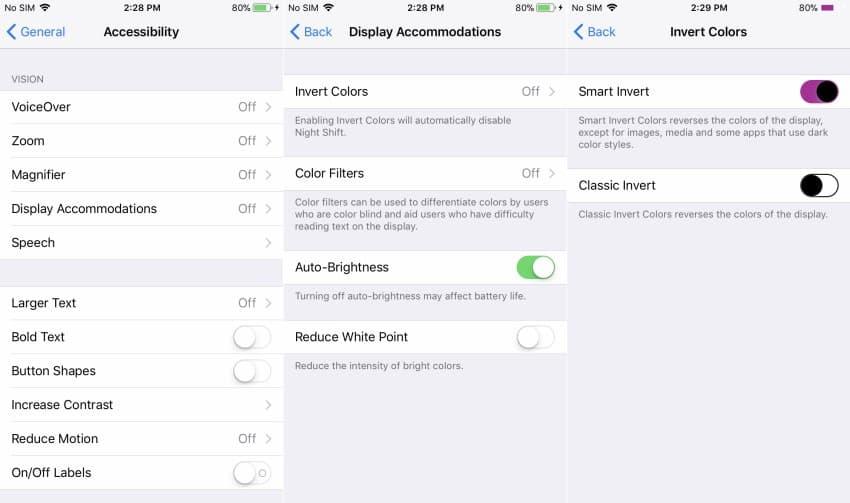 inversão de cores iphone