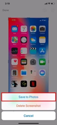 captura de tela do iPhone x
