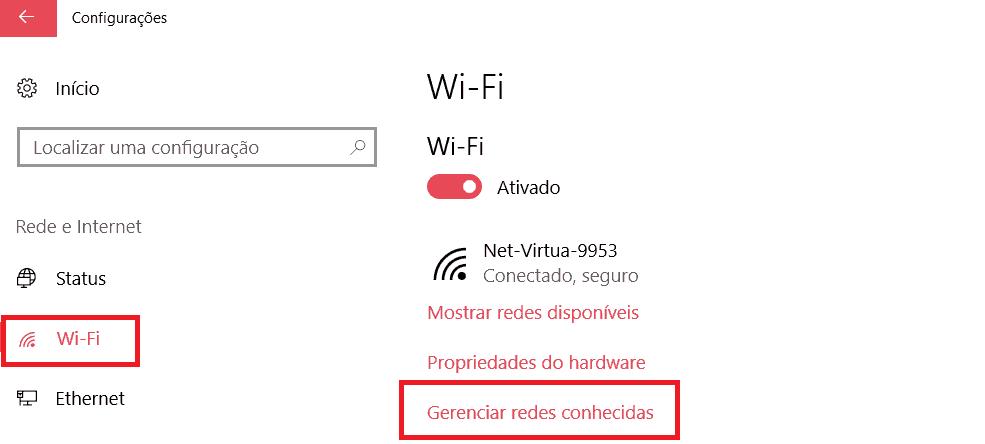 deletar rede wi-fi