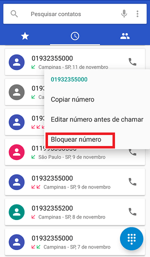 bloquear contatos Android