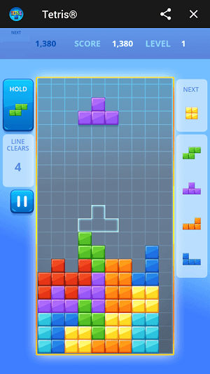 tetris no facebook