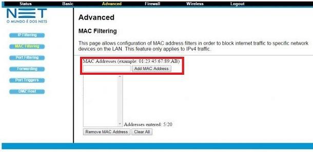 bloquear endereço mac