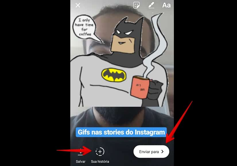 gif nas stories do instagram enviar