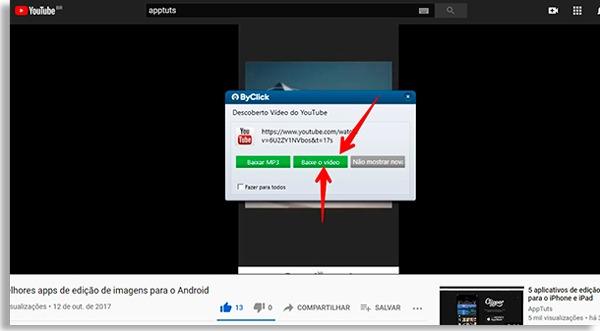 """tela do facebook sobreposta por um popup do byclick downloader e setas vermelhas apontando para botão verde dizendo """"baixar vídeo"""""""