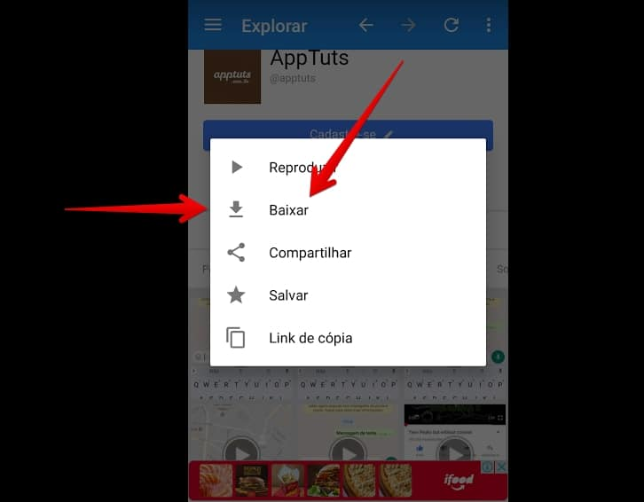 tela do video downloader escurecida com menu sobreposto e setas vermelhas apontando para o botão baixar