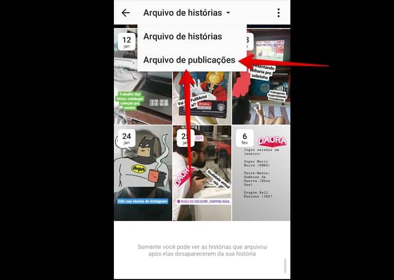 desarquivar foto no Instagram arquivo