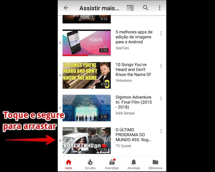 youtube-para-android-arrastar