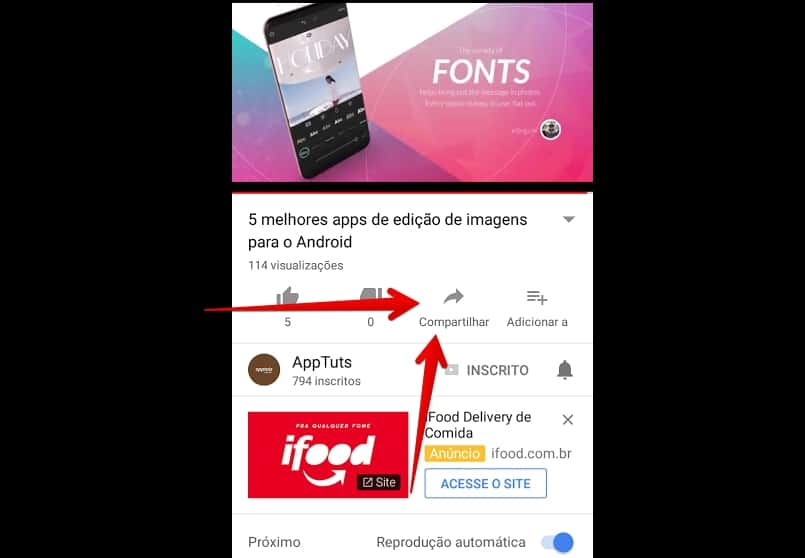 youtube-para-android-compartilhar