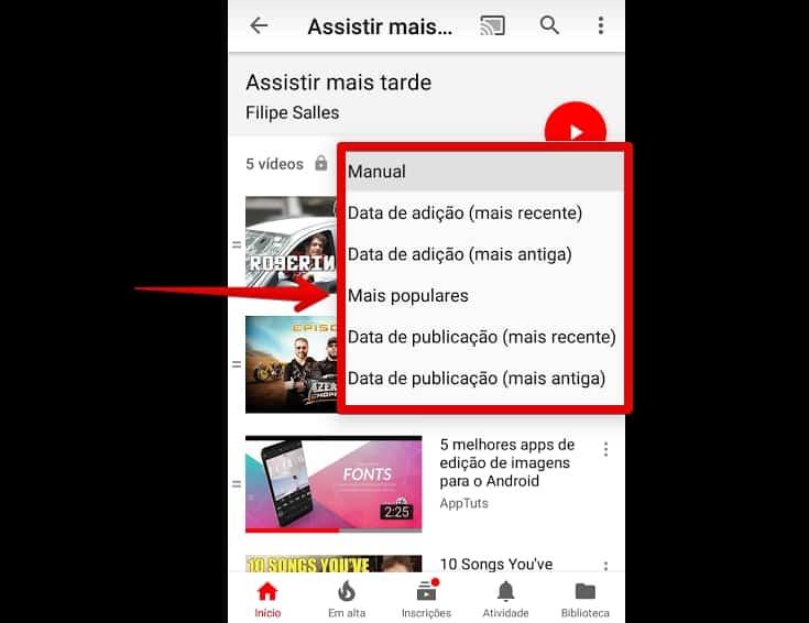 youtube-para-android-opcoes