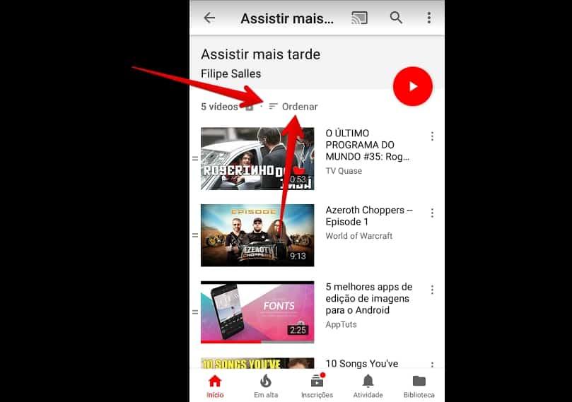 youtube-para-android-ordenar