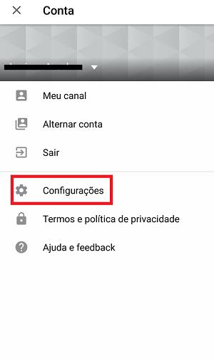 configurações do youtube