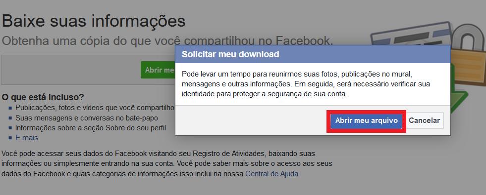 backup do facebook