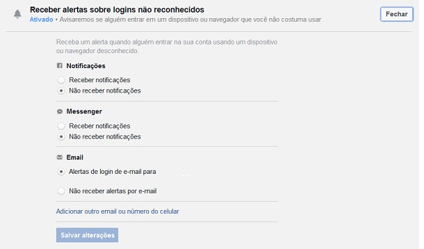 avisos do facebook