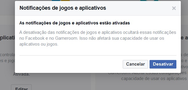 notificações do facebook