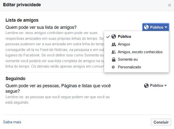 privacidade do facebook