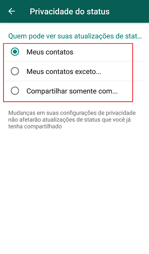 privacidade do status
