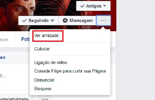 ver amizade no facebook