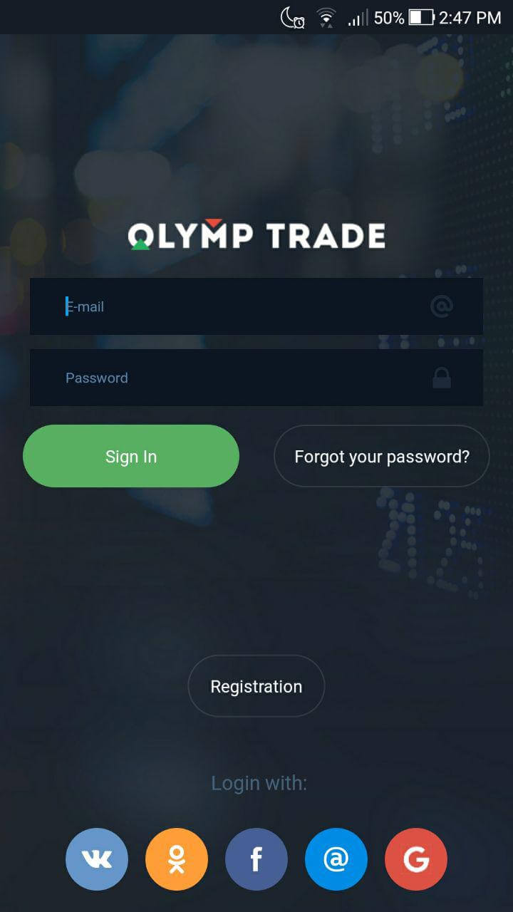 app mobile da olymp trade login
