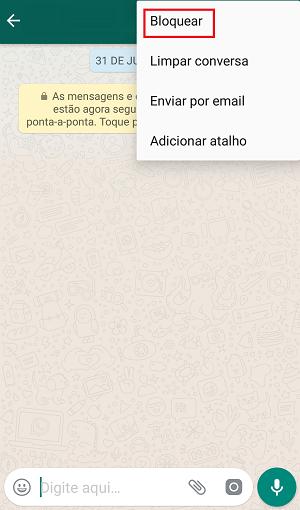 bloquear no whatsapp