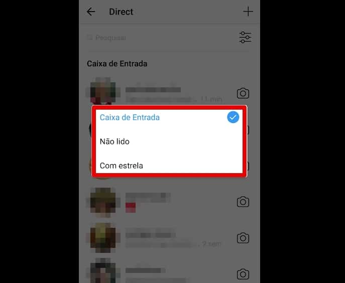 filtrar directs no Instagram filtros