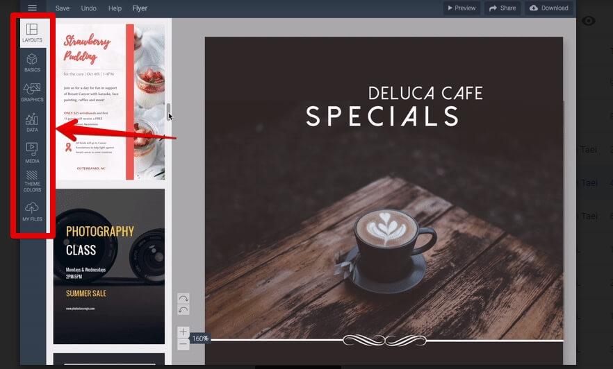 Visme 3.0 menu lateral