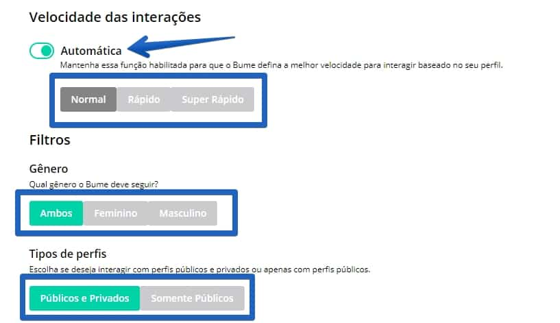 bume-configuracoesfiltros aumentar seguidores no instagram com o bume