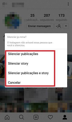 silenciar publicações
