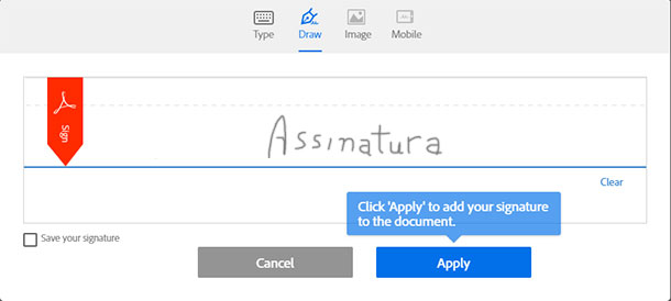 apps para assinar documentos adobesign
