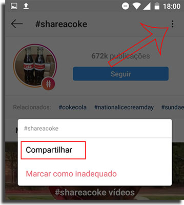 Instagram Direct Compartilhe Hashtags